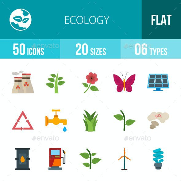 Ecology Flat Multicolor Icons