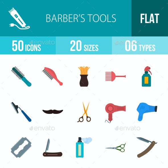 Barber's Tools Flat Multicolor Icons