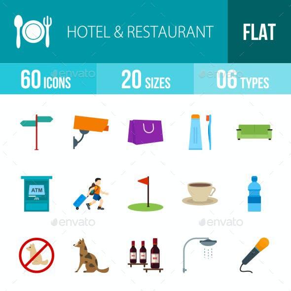 Hotel & Restaurant Flat Multicolor Icons