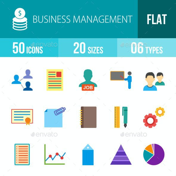 Business Management Flat Multicolor Icons