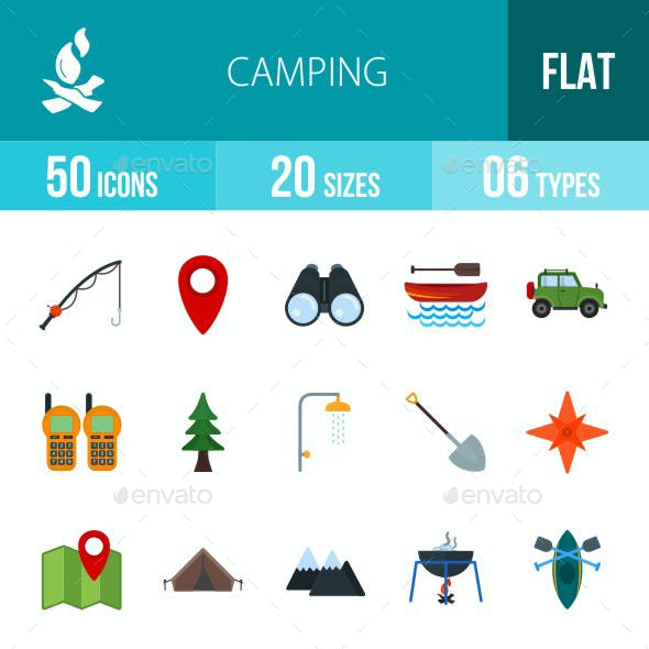 Camping Flat Multicolor Icons