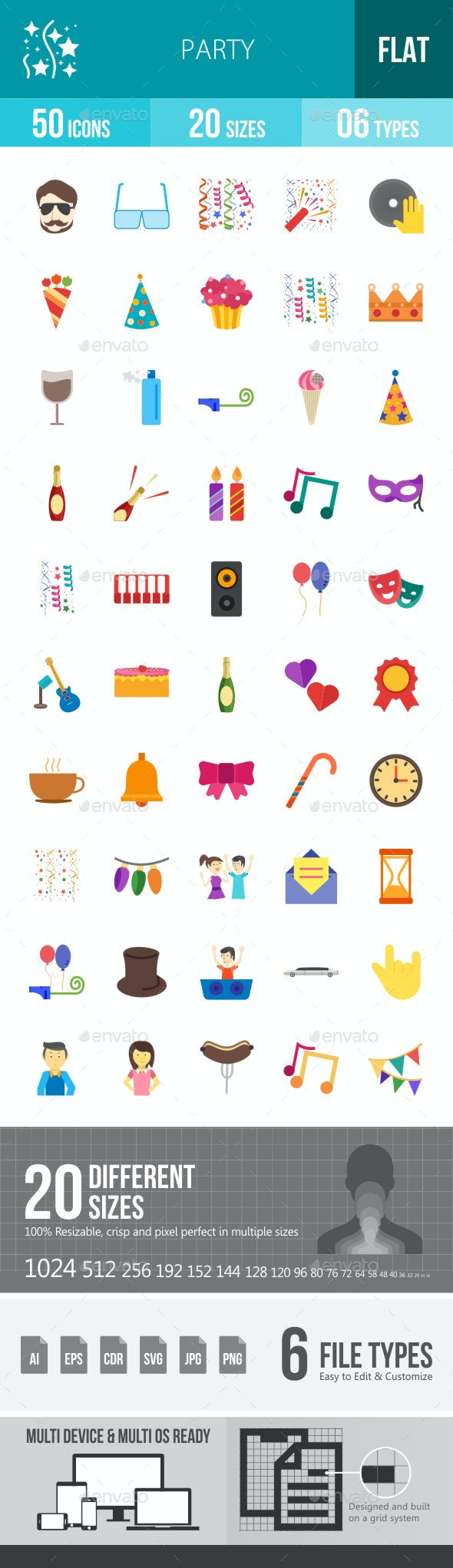 Party Flat Multicolor Icons - Icons
