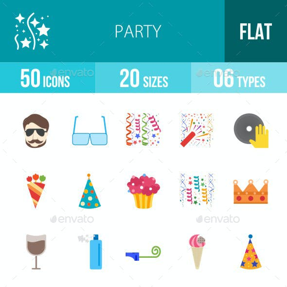 Party Flat Multicolor Icons