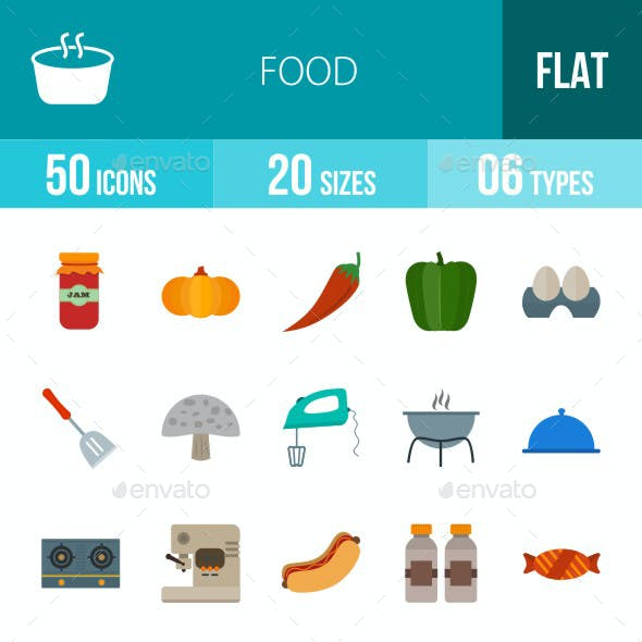 Food Flat Multicolor Icons