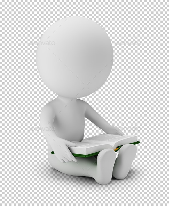 3D Small People - Read Book - Characters 3D Renders