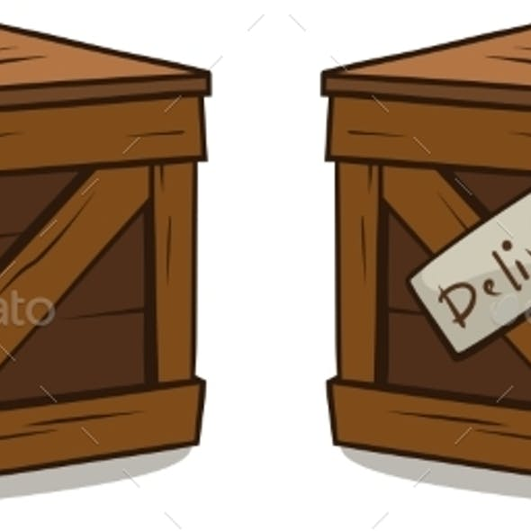 Cartoon Wooden Delivery Box Crate Vector Set
