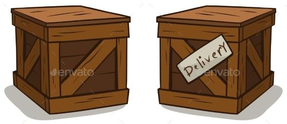 Cartoon Wooden Delivery Box Crate Vector Set - Objects Vectors