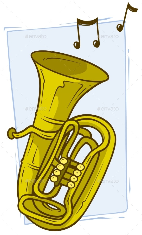 Cartoon Yellow Copper Tuba with Musical Notes - Objects Vectors