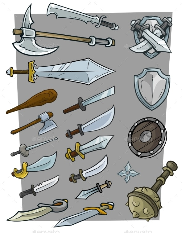 Cartoon Big Cold Weapon Vector Icon Set - Objects Vectors
