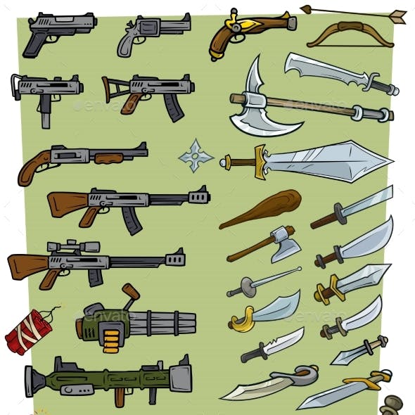 Cartoon Big Weapons and Explosive Game Icons Set