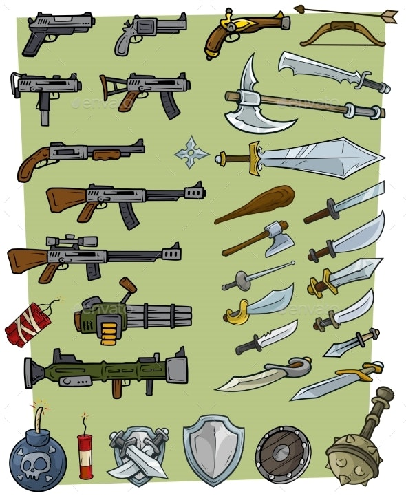 Cartoon Big Weapons and Explosive Game Icons Set - Objects Vectors