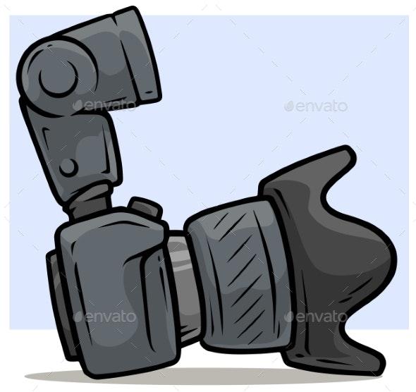 Cartoon Digital Photo Camera with Big Lens - Technology Conceptual