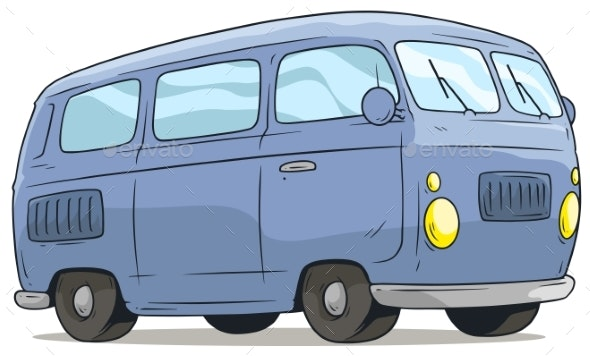 Cartoon Cute Blue Retro Van Bus Vector Icon - Man-made Objects Objects