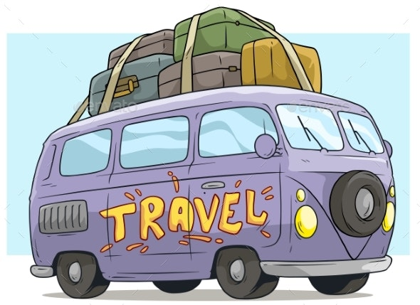 Cartoon Cute Violet Retro Van Bus with Luggage - Man-made Objects Objects
