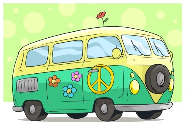 Cartoon Retro Van Bus with Peace Sign and Flower - Man-made Objects Objects