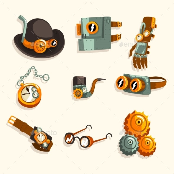 Steampunk Objects Set, Antique Mechanical Devices - Industries Business