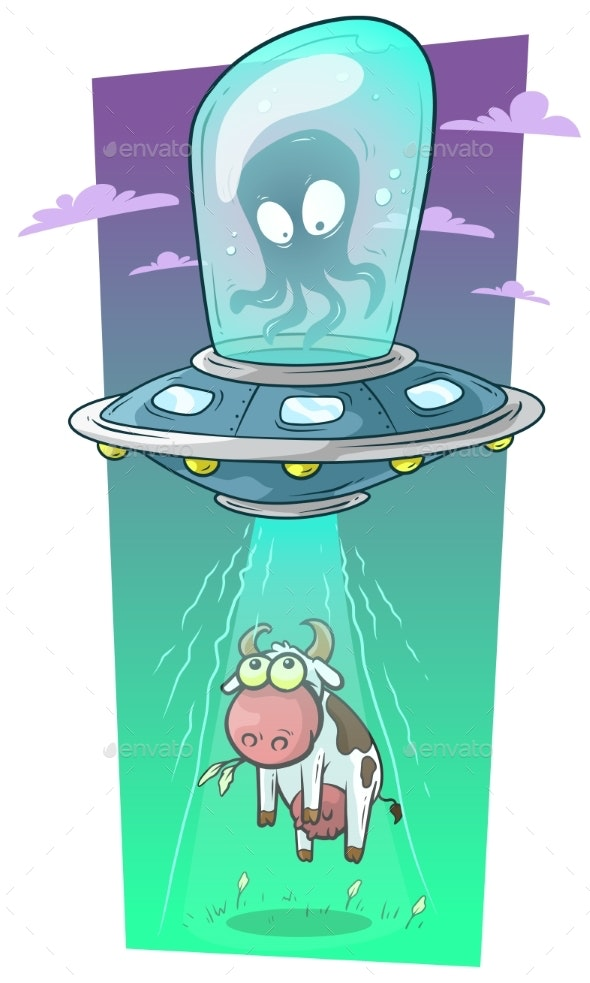 Cartoon Alien Monster in Spaceship Stealing Cow by GB_Art ...