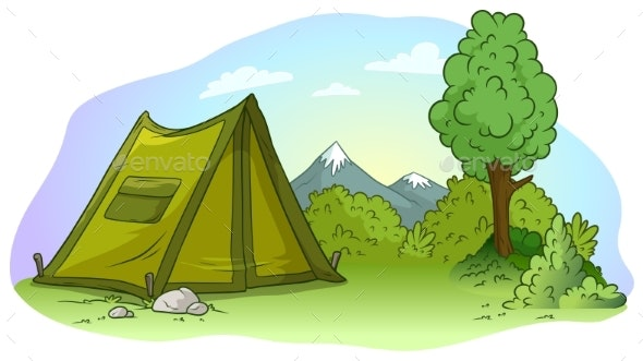 Cartoon Green Camping Tent on Grass Lawn - Backgrounds Decorative