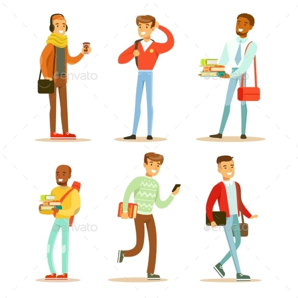 Flat Vector Set of Young Cheerful Guys. University - People Characters