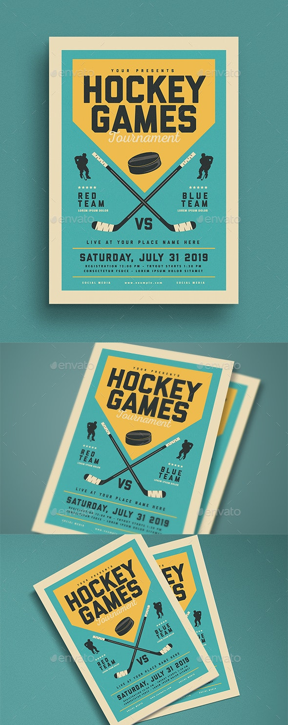 Vintage Hockey Game Flyer - Sports Events