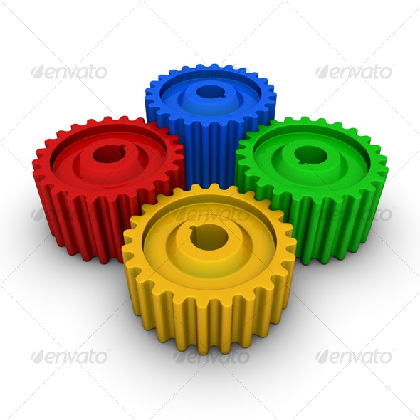 colorful gears - Technology 3D Renders
