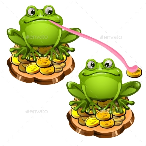 Green Frog with a Long Pink Tongue - Animals Characters