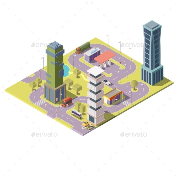 Vector Isometric Map of City with Buildings - Buildings Objects