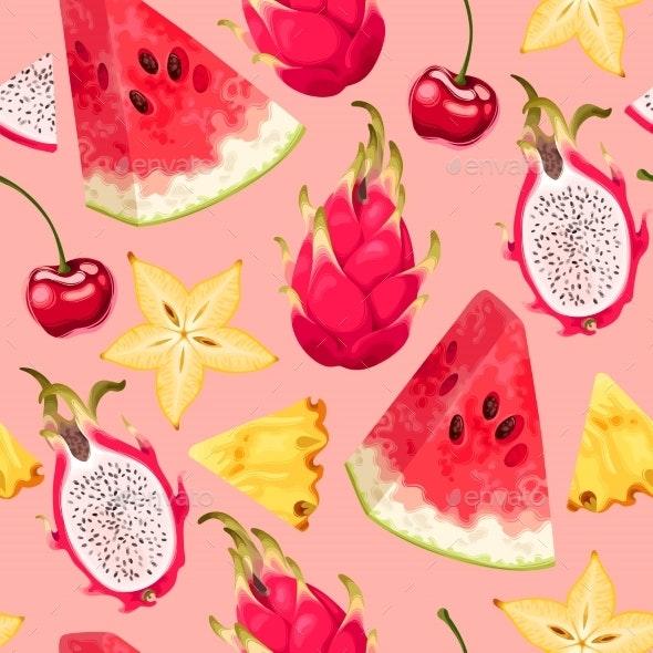 Tropic Seamless Pattern - Food Objects