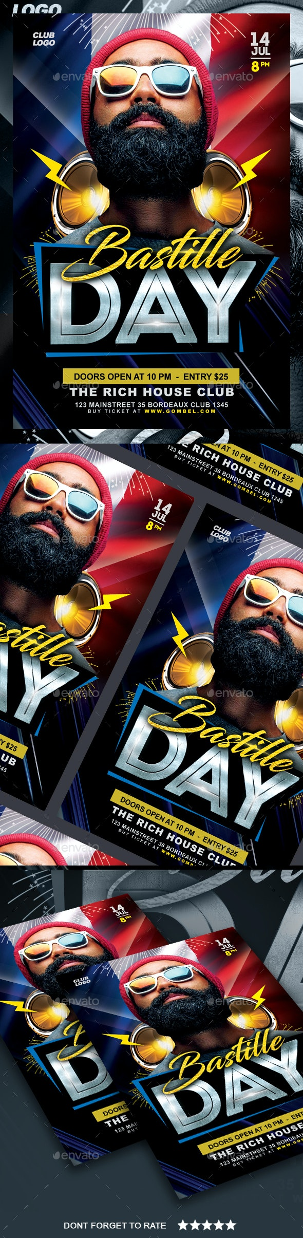 Bastille Day Flyer - Clubs & Parties Events