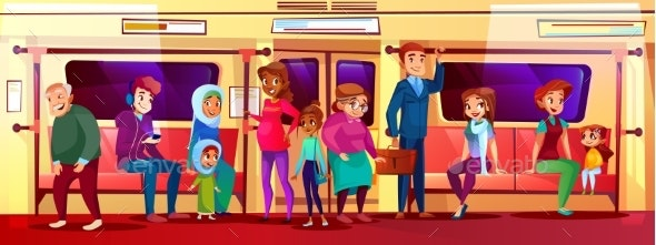 People Social Issue in Subway Vector Illustration - People Characters