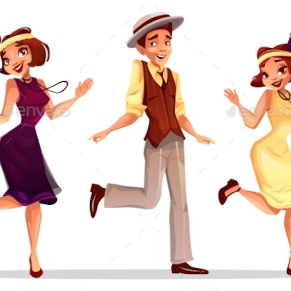 Jazz Dancers Man and Women Vector Illustration