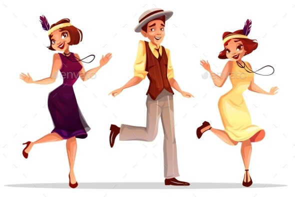 Jazz Dancers Man and Women Vector Illustration - People Characters