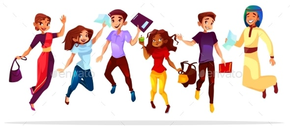 College Students Jumping Up Vector Illustration - People Characters