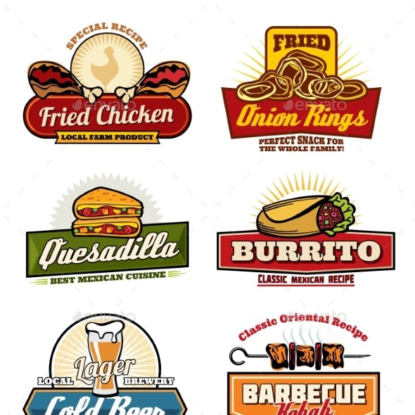 Vector Fast Food Restaurant or Bistro Icons