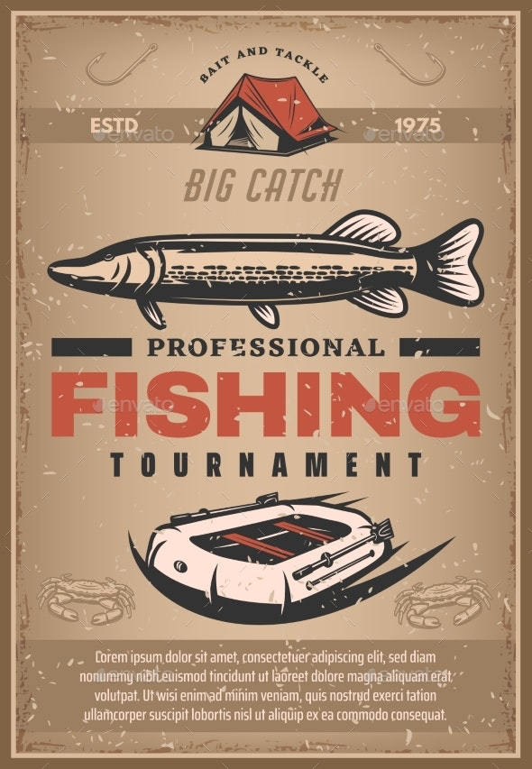 Vector Poster for Professional Fishing Tournament - Sports/Activity Conceptual