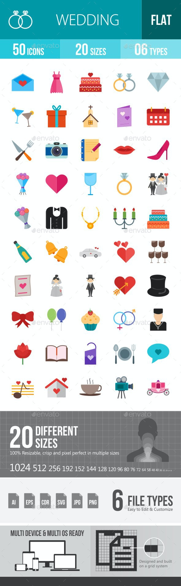 Wedding Flat Multicolor Icons - Icons