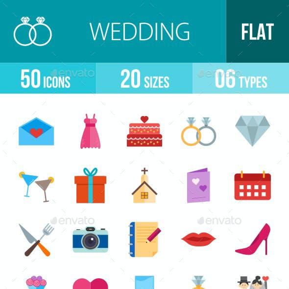 Wedding Flat Multicolor Icons