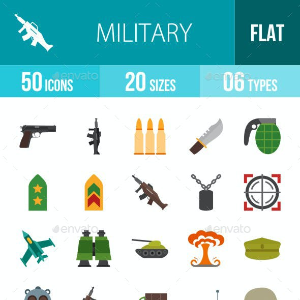 Military Flat Multicolor Icons