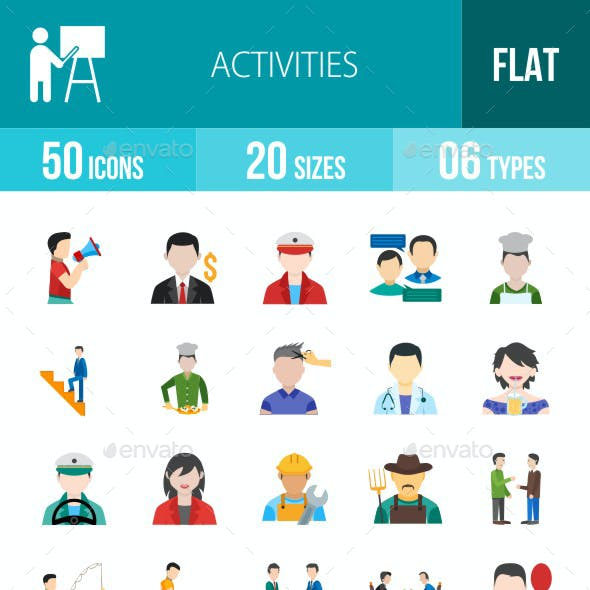 Activities Flat Multicolor Icons