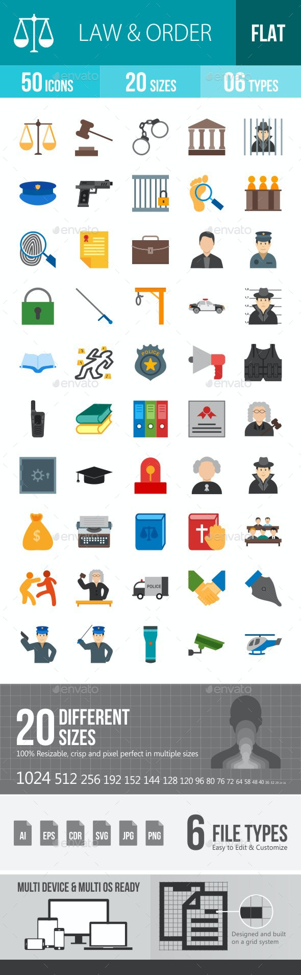 Law & Order Flat Multicolor Icons - Icons