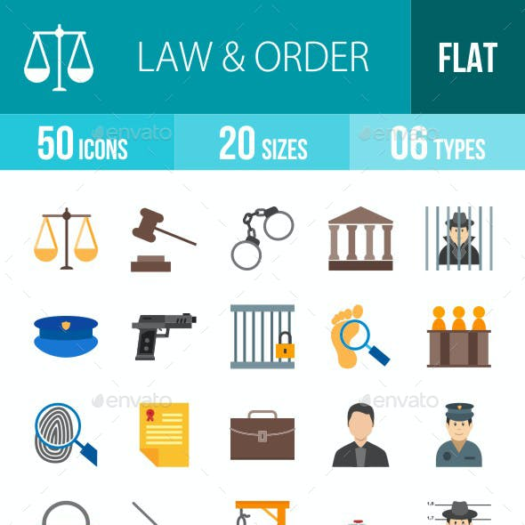Law & Order Flat Multicolor Icons
