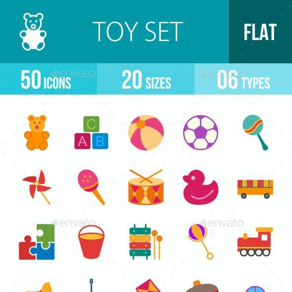 Toys Flat Multicolor Icons
