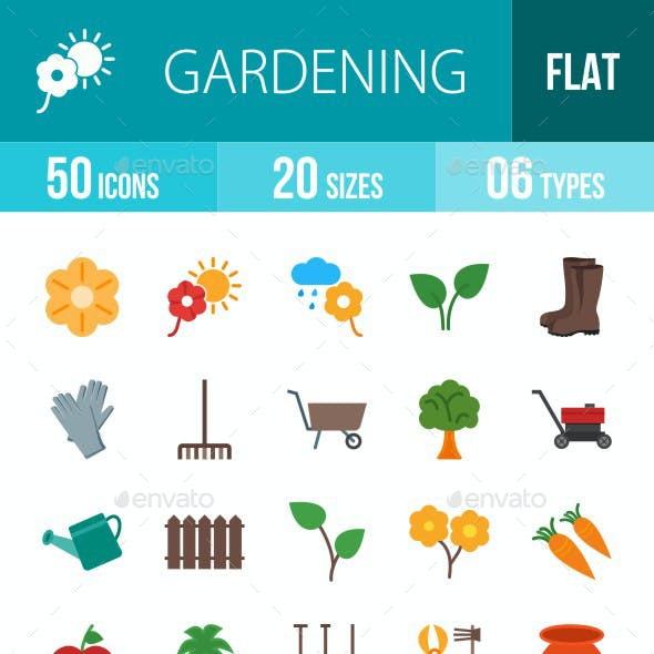Gardening Flat Multicolor Icons