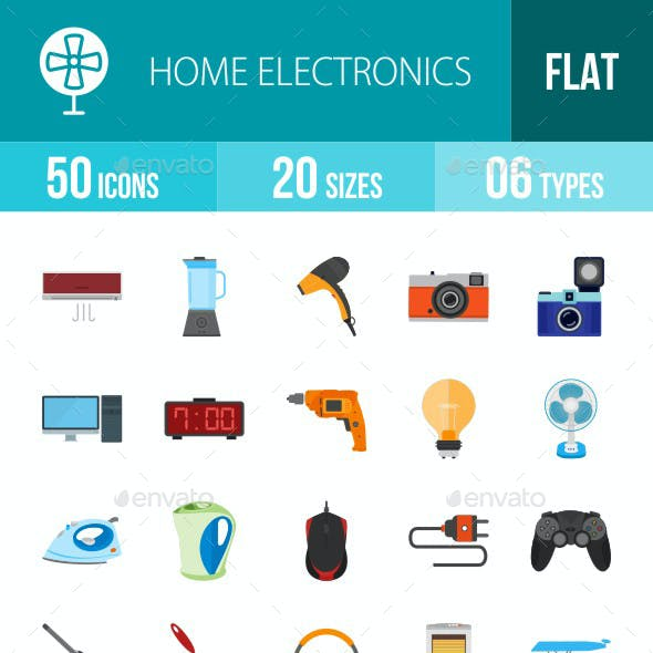 Home Electronics Flat Multicolor Icons