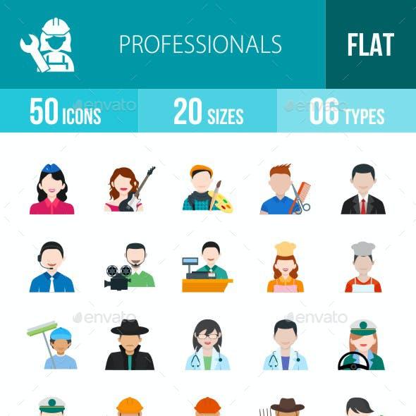 Professionals Flat Multicolor Icons