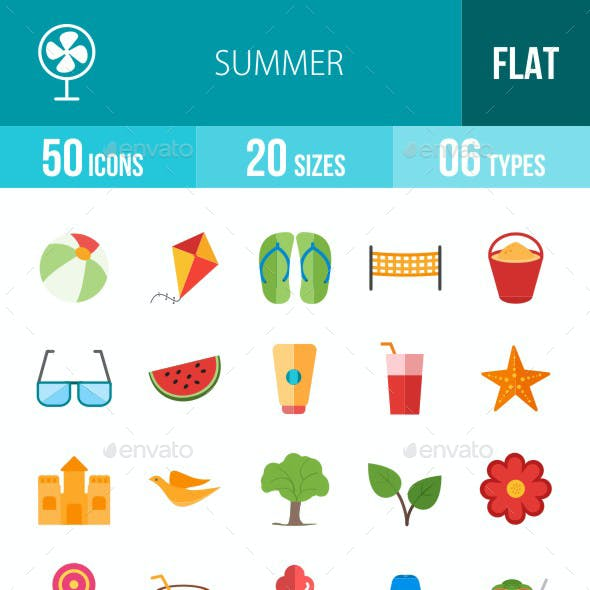 Summer Flat Multicolor Icons