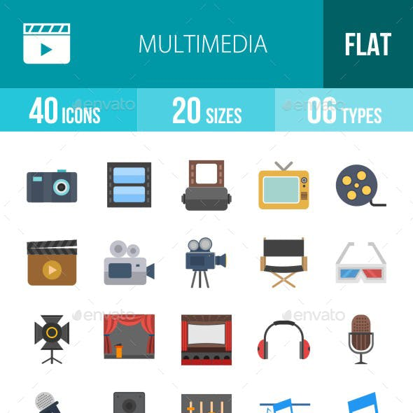 Multimedia Flat Multicolor Icons