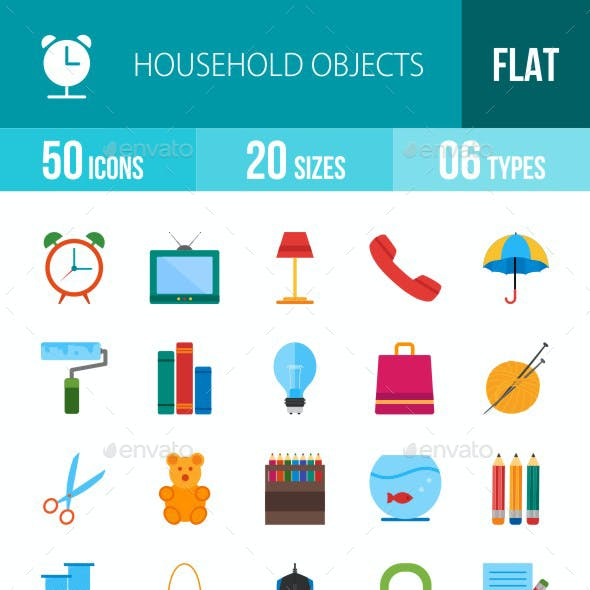 Household Objects Flat Multicolor Icons