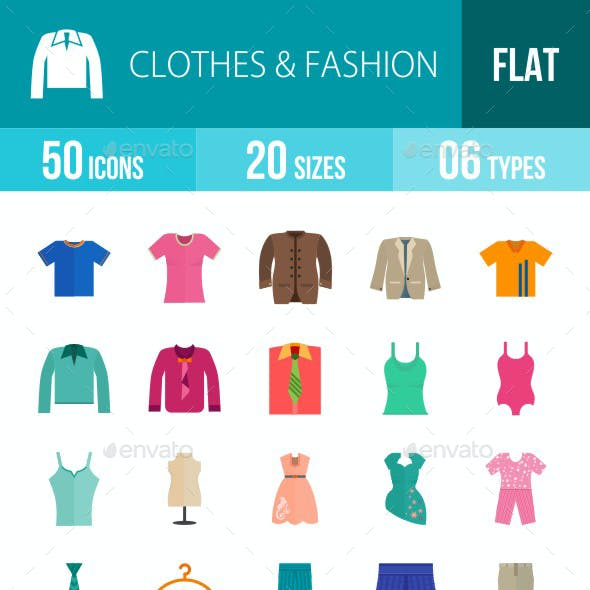 Clothes & Fashion Flat Multicolor Icons