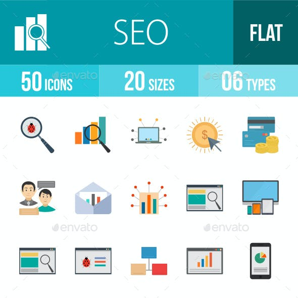 SEO Flat Multicolor Icons